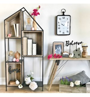 Wood And Metal House Cubby Shelf Free Standing