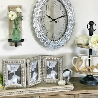White Wood Face Clock With Metal Scalloped Frame