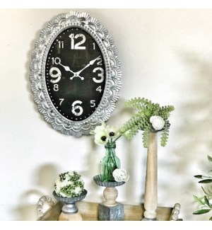 Black Clock With Metal Scalloped Frame