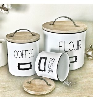 White Enamel Canisters, with Wood Tops