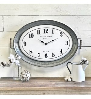 Metal Oval Tray Clock
