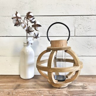 Modern Wood Round Lantern