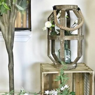 Wood Geometric Lantern With Rope Handle