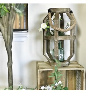Wood Geometric Lantern With Rope Handle