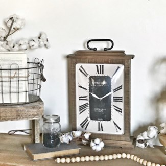 Wood Vintage Table Clock with Roman Numerals