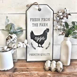 Enamel Chicken Tag Sign With Rope