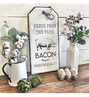 Enamel Bacon Tag Sign With Rope