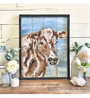 Hand Painted Cow Print Blue