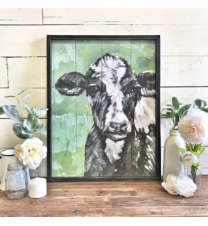 Hand Painted Cow Print Green