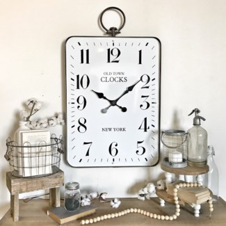 Large Rectangular Clock with Handle