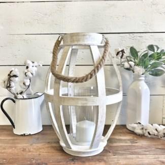 White Wood Tall Lantern Decor