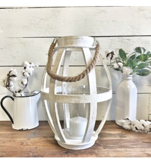 White Wood Tall Lantern Decor