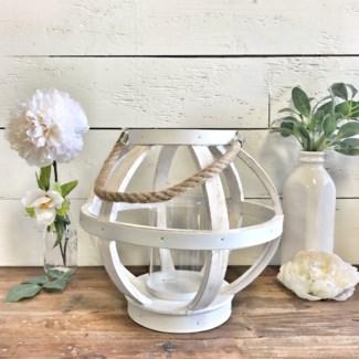White Wood Round Lantern Decor