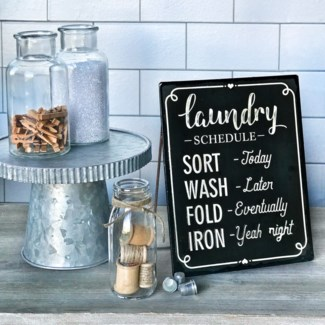 Black Enamel Free Standing Laundry Sign
