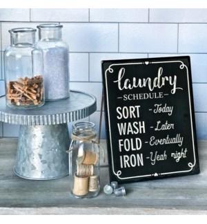 Black Enamel Free Standing Laundry Sign