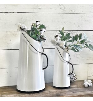 Tall White Enamel Buckets