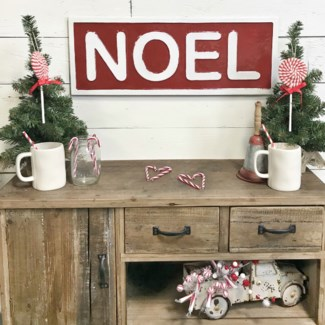 Red Noel Metal Sign