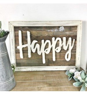 Happy Rustic Wood Framed Sign