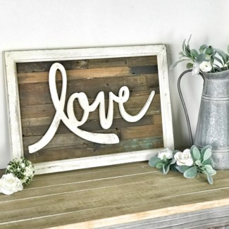 Love Rustic Wood Framed Sign