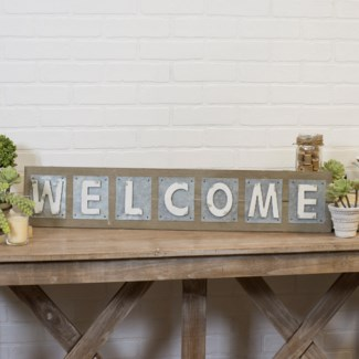 "Wood And Metal Word Art ""Welcome"""