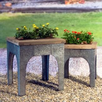 Wood And Metal Table Set/2