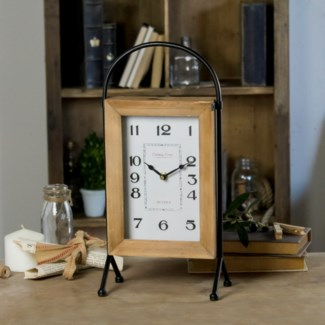 Wood And Metal Table Clock