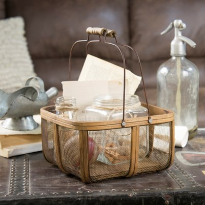 Wood And Metal Basket