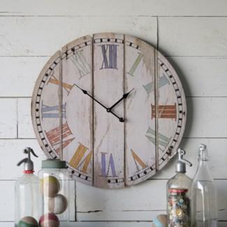 """Wood 23"""" Wall Clock Colorful Slats"""
