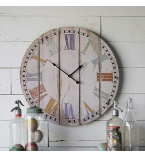 "Wood 23"" Wall Clock Colorful Slats"