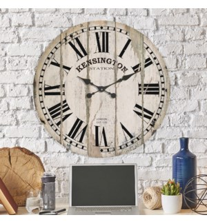 "Wood 28"" Wall Clock White"