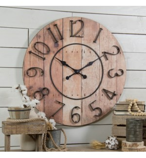 "Wood 32"" Clock W/ Mtl Numbers"