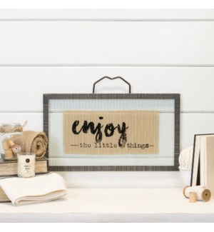 "Wood With Glass  Sign ""Enjoy"""