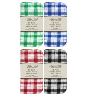 12 Pack Waffle Weave Dish Cloth 12x12