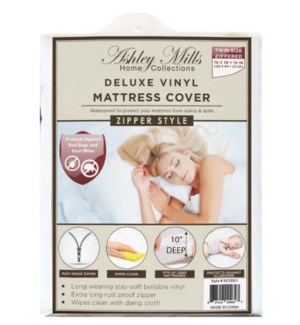 "Deluxe Vinyl 10"" Deep Zipper Mattress Cover (Twin)"