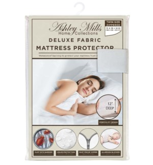 "Deluxe 12""  Fabric Zipper Mattress Protector (Twin)"