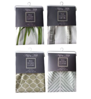 Printed PEVA Shower Curtain 70x72