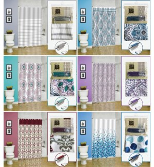 13 Piece Polyester Printed Canvas/Jacquard Shower Curtain Sets