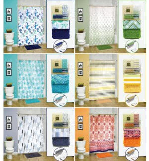 14 pc Set (1 PEVA Shower Curtain + 12 Metal Hooks +1 Noodle Rug)