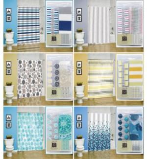 13 pc Bathroom Set (1 Peva Curtain + 12 Resin Decorative Hooks)