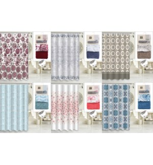 14 Pcs Bath Set (1 Fabric Curtain + 12 Metal Hooks + 1 Noodle Rug)