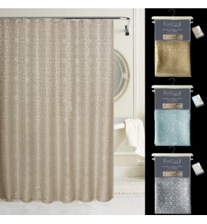 """Barclay Luxury Jacquard Heavy Weight 72"""" x 72"""" Shower Curtain with Free hooks"""