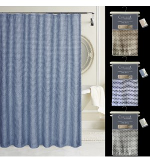 """Chelsea Luxury Yarn Dyed Heavy Weight Jacquard 72"""" x 72"""" shower  curtain with Free hooks"""