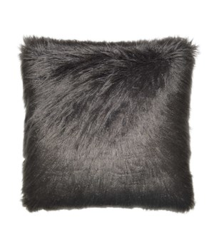 Llama Fur Square Charcoal Pillow