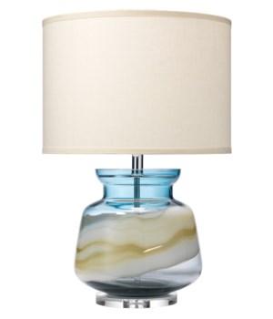 Ursla Blue Glass Table Lamp, Classic Drum