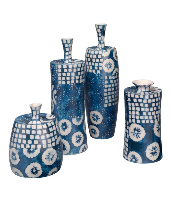 Block Print Vases, Set of 4