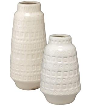 Coco White Ceramic Vessels, Set of 2