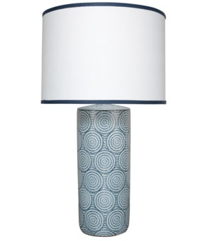 Hampton Blue and White Table Lamp, Lg Drum