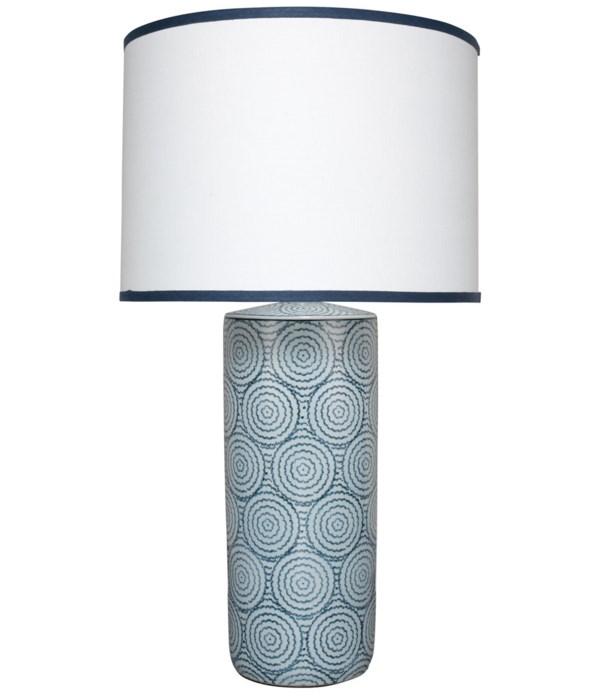 Hampton Blue and White Table Lamp, Lg Drum