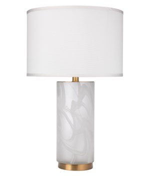 Small Streamer White Table Lamp, Med Drum
