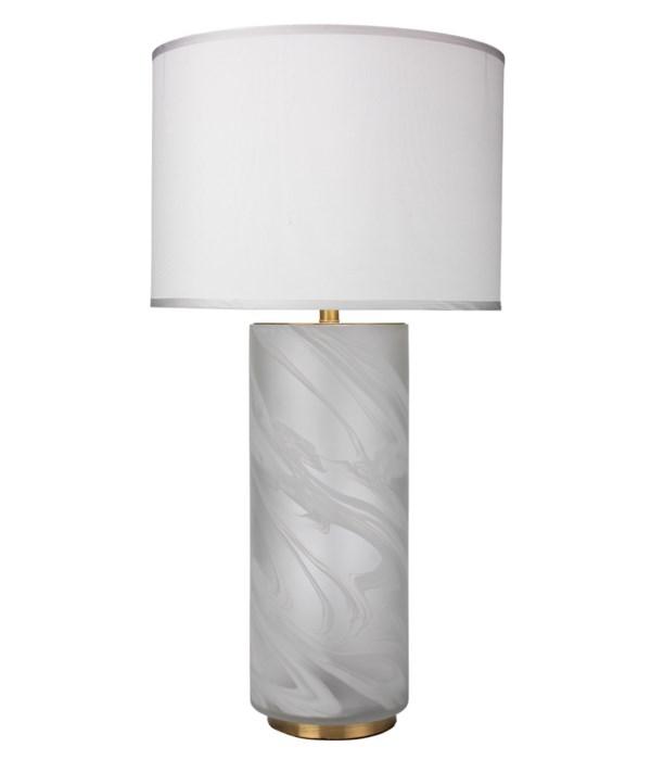 Large Streamer White Table Lamp, Lg Drum